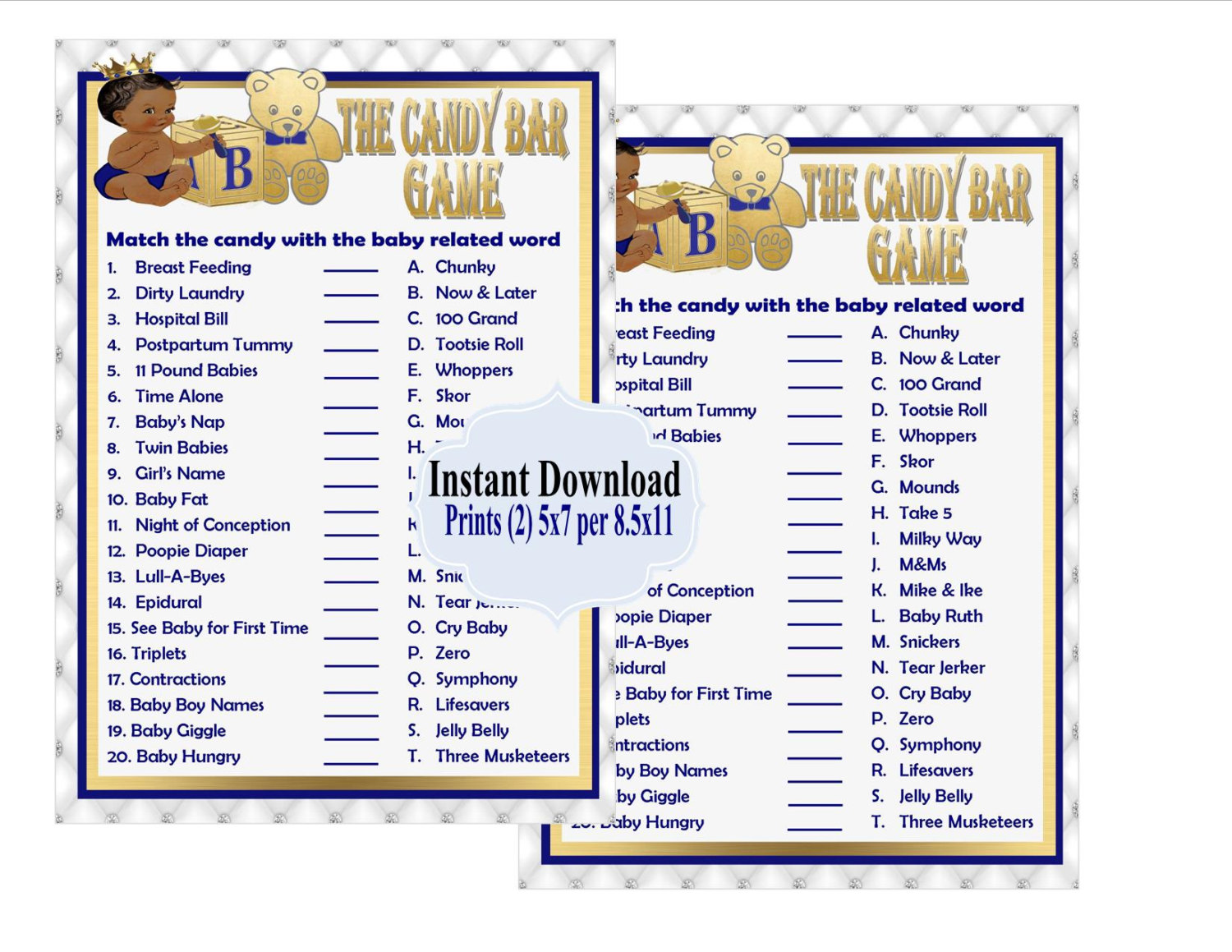 Baby Shower Candy Bar Game Printable That Are Current
