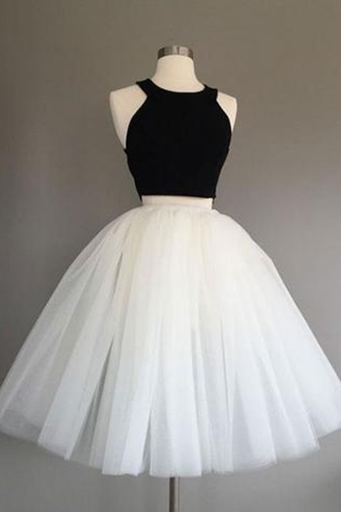 Simple Two Pieces Black And White Short Prom Dress