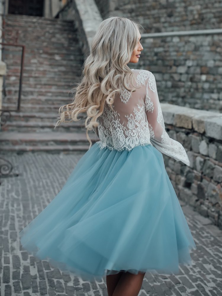 High Fashion Two Piece Long Sleeves Homecoming Dress White