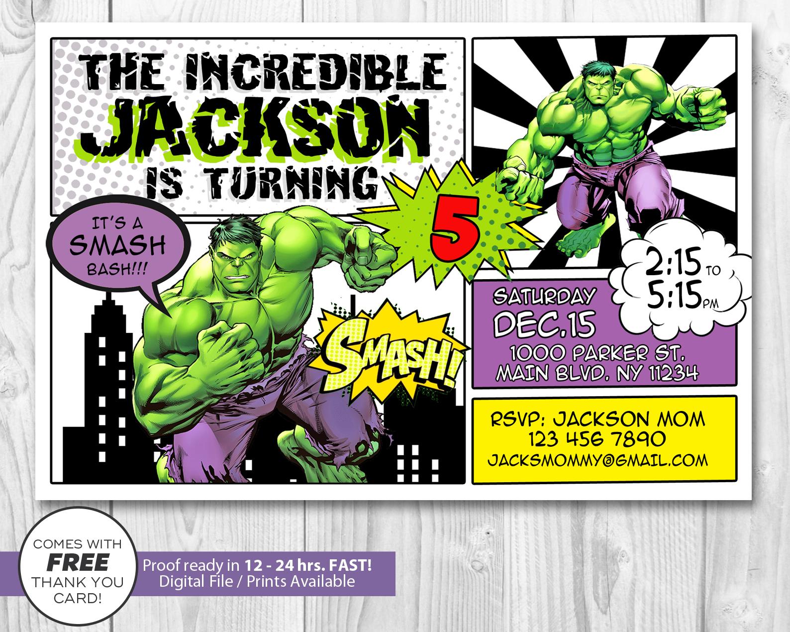 incredible hulk invitation hulk