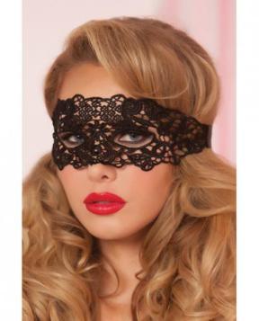 Lace Eye Mask Satin Ribbon Ties Black O/S