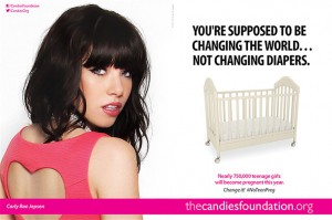 "Picture of Carly Rae Jepsen w caption: ""You're supposed to be changing the world...not changing diapers."""