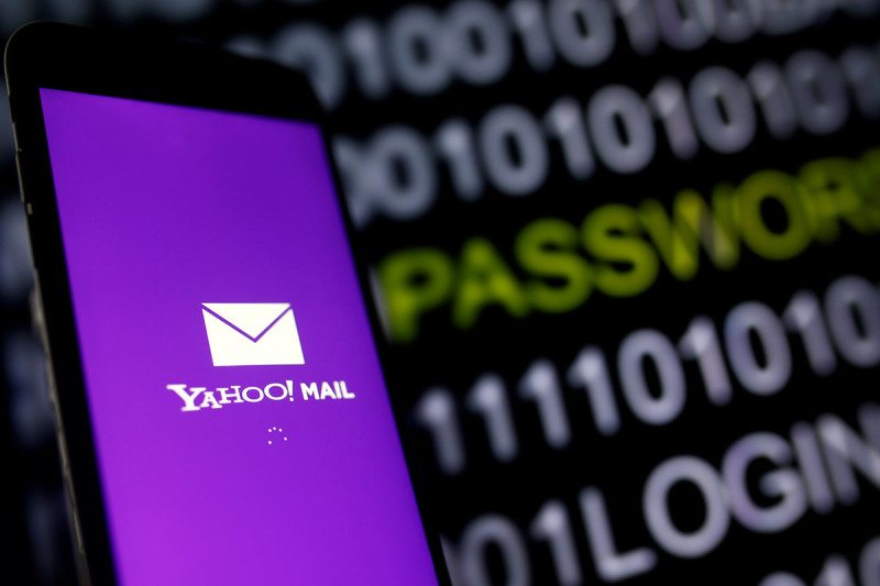 Yahoo mail logo with passwords