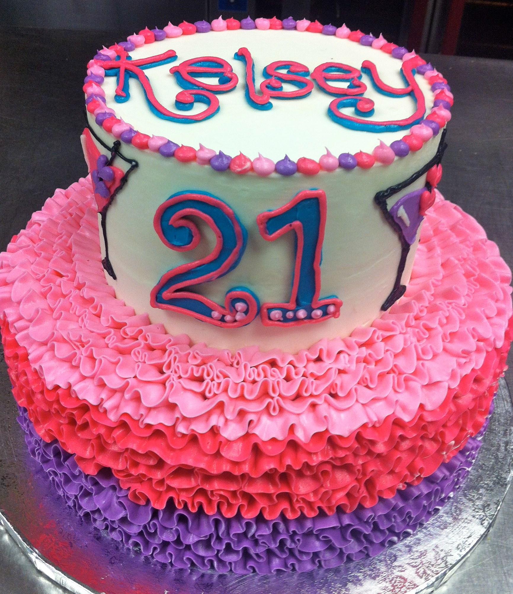 21st Birthday Girly Ruffle Cake