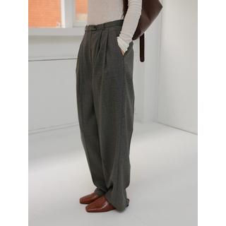 細褲頭織紋布寬褲 (雜灰) (M) | studiodoe