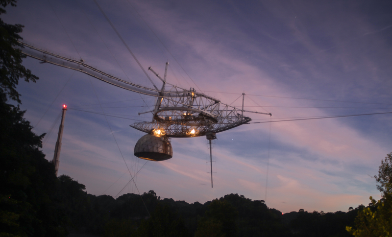 The suspended support platform of radio receivers at Arecibo Observatory in Puerto Rico.
