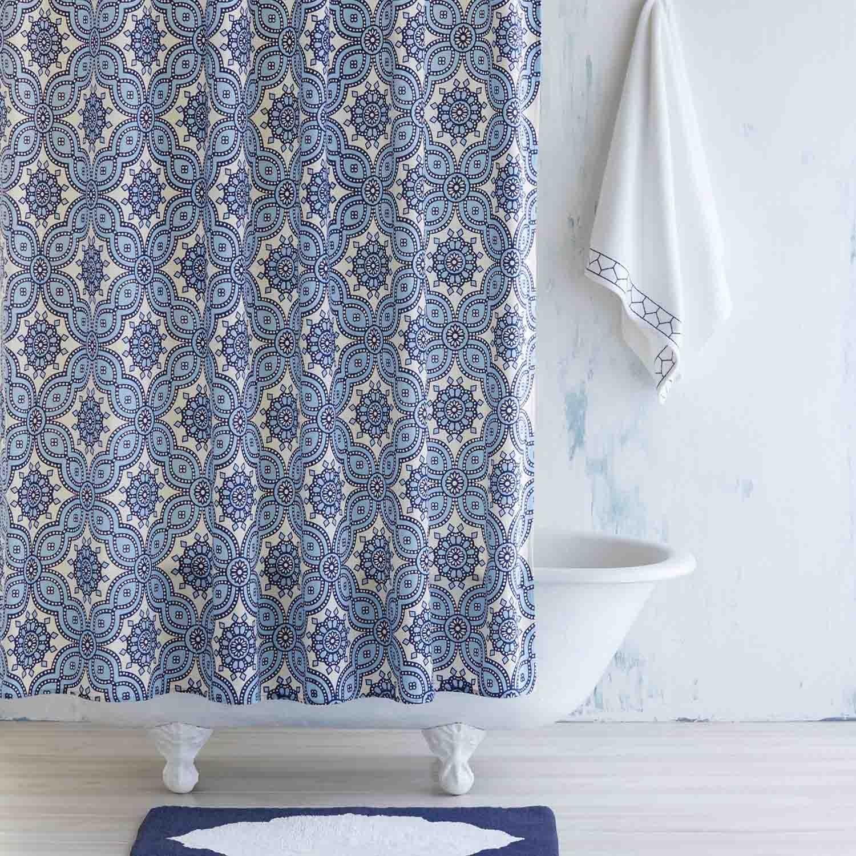 john robshaw petra light indigo shower curtain