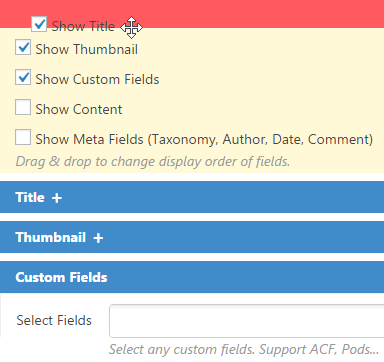 Show fields - Content Views Pro for WordPress