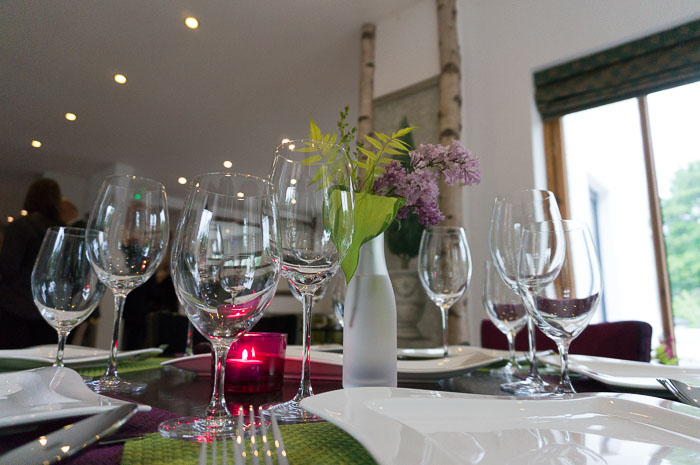 Tables set for dinner at Perfect Manors restaurant