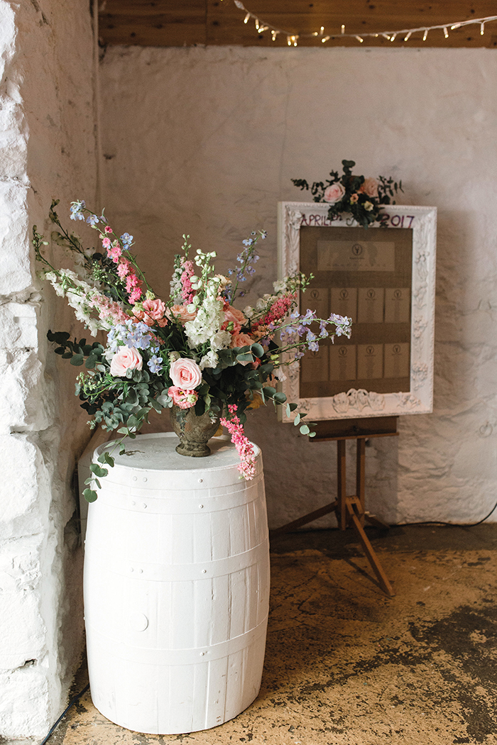 Dalduff Farm rustic barn wedding The Gibsons table plan and flowers