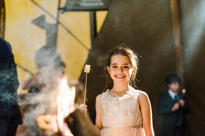 Photos by Zoe rustic PapaKåta tipi wedding - firepit marshmallows