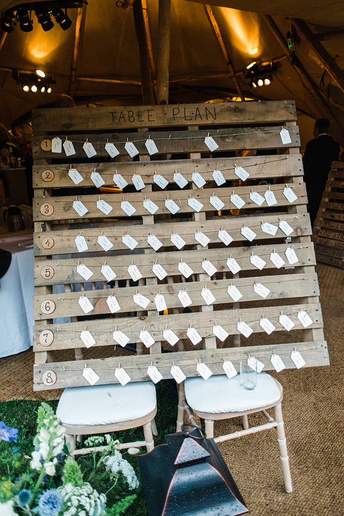 Photos by Zoe rustic PapaKåta tipi wedding - table plan