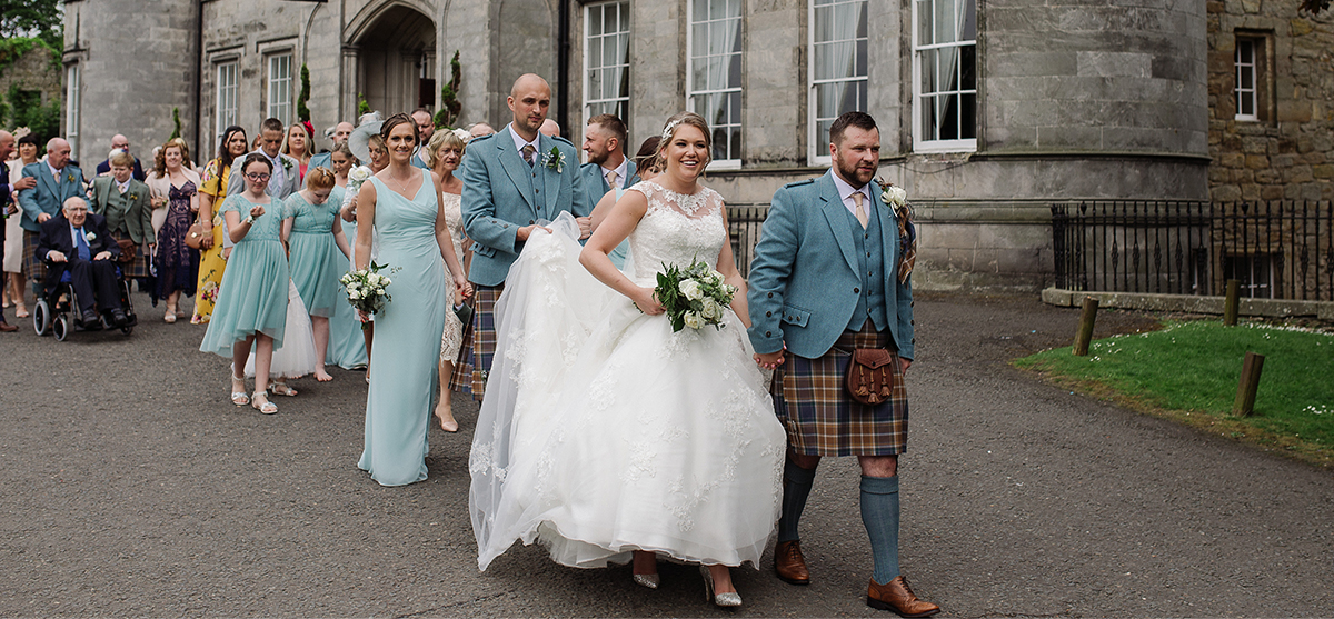 Duck egg blue themed fairytale wedding day at Airth Castle Hotel and Spa, Stirlingshire