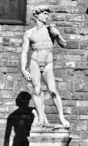 Michelangelo's David, replica on the square Piazza della Signoria in front of the Palazzo Vecchio in Florence, Italy