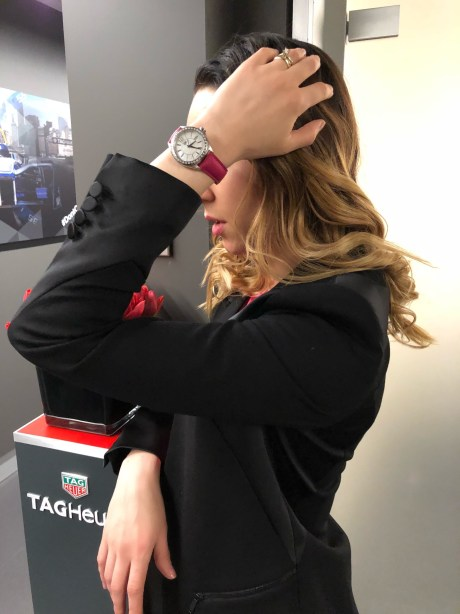 Baselworld 2018, Style details: suit - KARL LAGERFELD, watches - TAG HEUER FORMULA 1 LADY