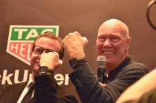 Baselworld 2018, Jean-Claude Biver, CEO of TAG Heuer and CEO of BWD, George Bamford at the Press Conference unveiling the TAGHeuer Monaco Bamford