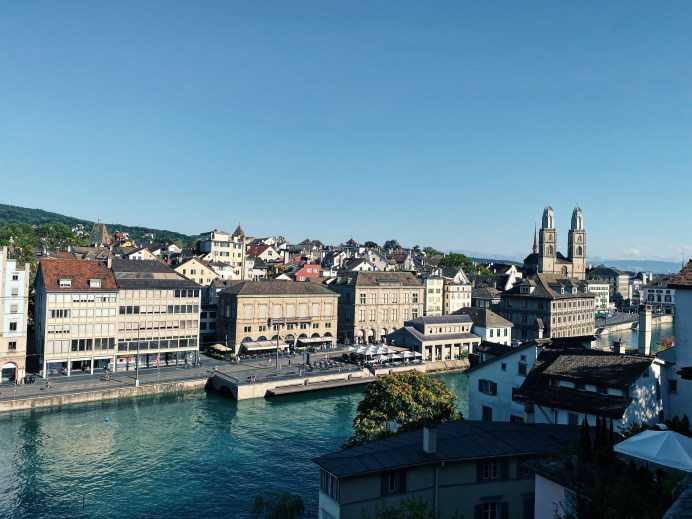 View over the city and the river from the Lindenhofplatz, Zurich, Switzerland