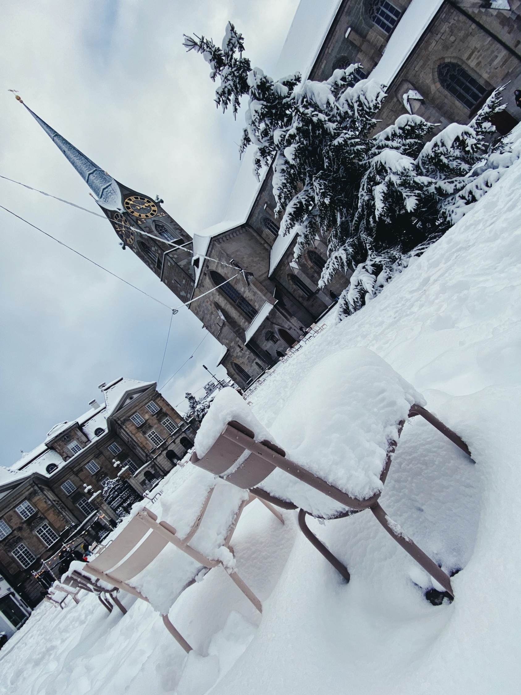 Zurich, Fraumunster, Record snowfall in January 2021