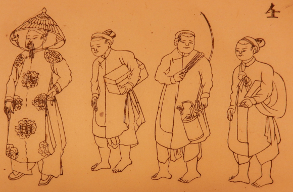 A mandarin accompanied by his servants; only the mandarin wears shoes. Credit: Oger [1909]: f. 4 and British Library