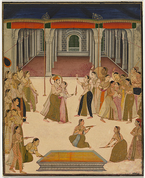 Emperor Jahangir celebrating Holi with the women of the zenana