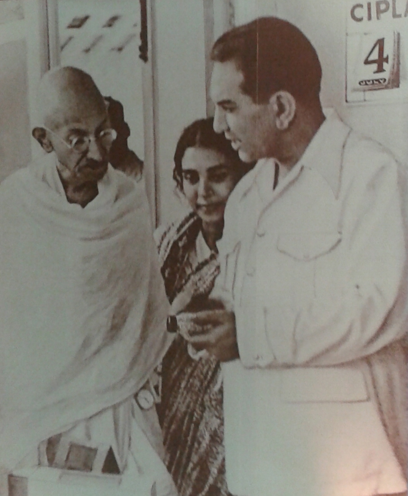 Mahatma Gandhi with Cipla founder KA Hamied during his visit to Cipla in July 1939.