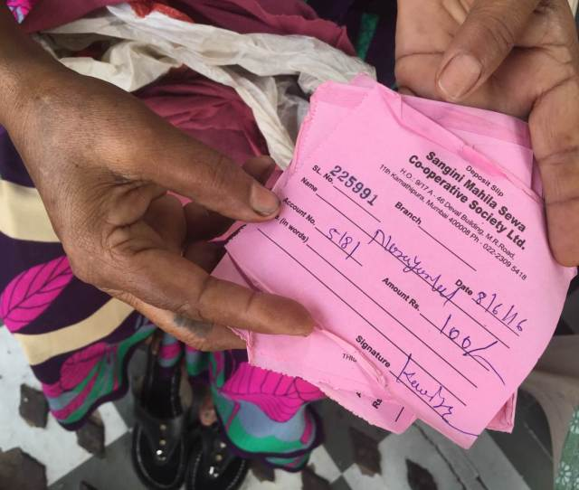 A Woman Shows Deposit Slips Issued By Sangini A Now Closed Cooperative Bank For Sex
