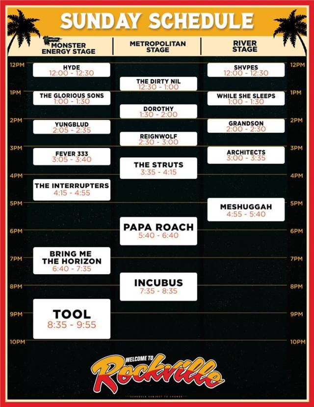 Welcome To Rockville Posts Band Performance Times & Announces
