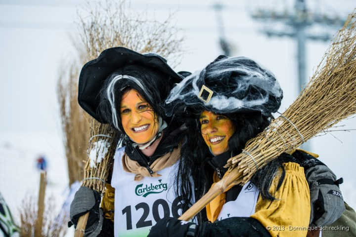 Skiers dressed up as witches for the Belalp Witches' Race, 2013