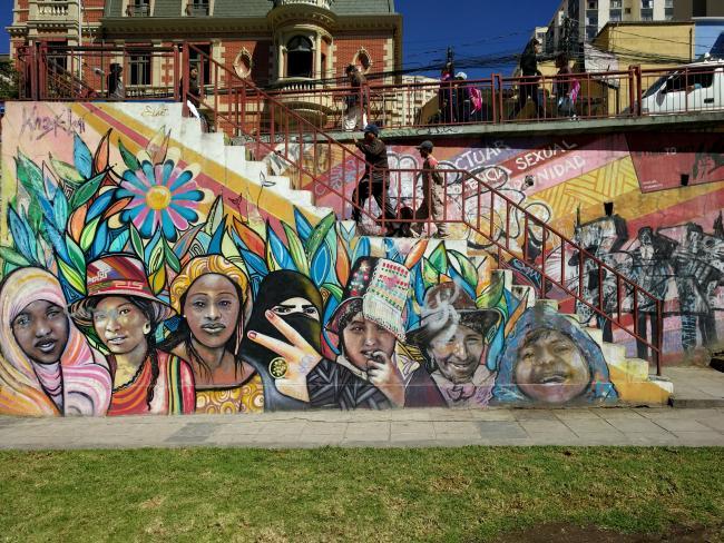 A mural in Bolivia representing community.