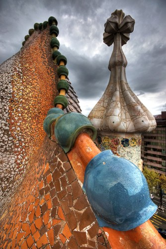 This image shows the roof of Casa Batllo, and the technique of trencadis that was a signature introduction into the world of art by Gaudi.