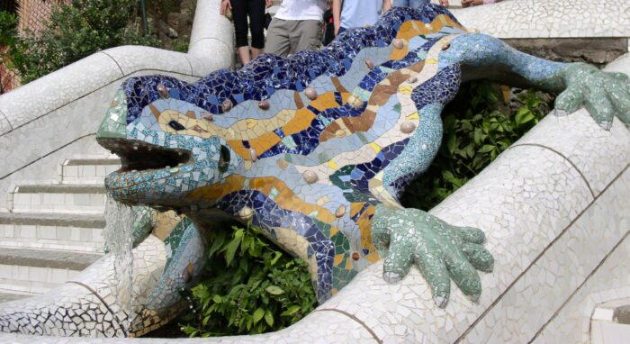 A biomorphic piece in Park Guell, this salamander made using the technique of trencadis, has become a signature piece of Gaudi's.