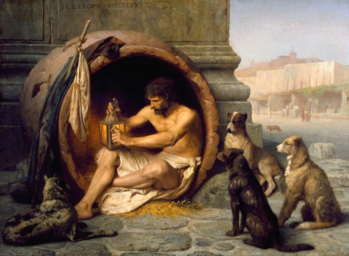 A painting of Diogenes, sitting in his barrel and working on a lantern. He is watched by a handful of dogs.