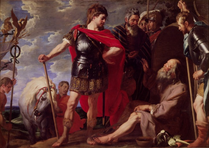A painting of the meeting of Alexander the Great and Diogenes. Diogenes is sitting down, and he is surrounded by Alexander and his men.
