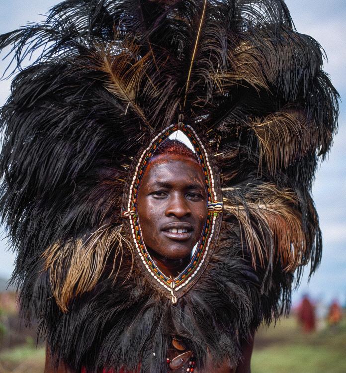 maasai man in ostrich feather headdress in Kenya, East Africa