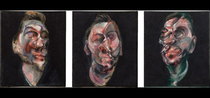 an image of Francis Bacon's tripypthic, which are the disfigured portraits of George Dyer from different angles against blackground