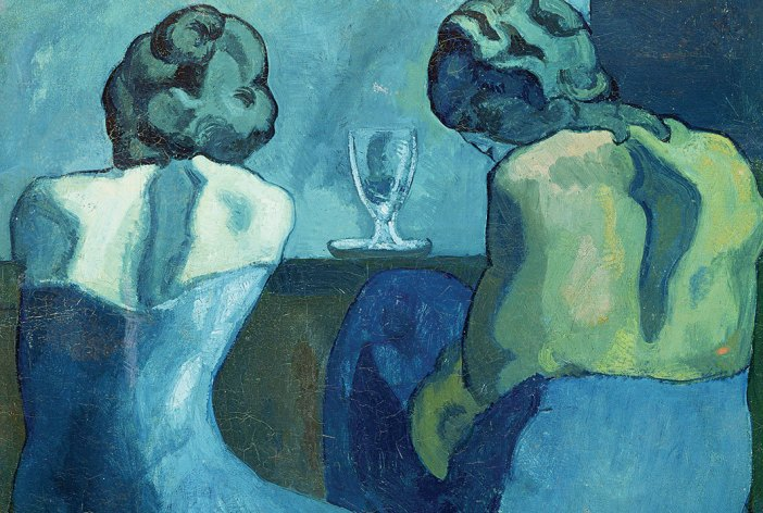 a blue monochromatic study of Picasso where he paints two women sitting together, who turned their bakcs and having wine, looking upset and melancholic