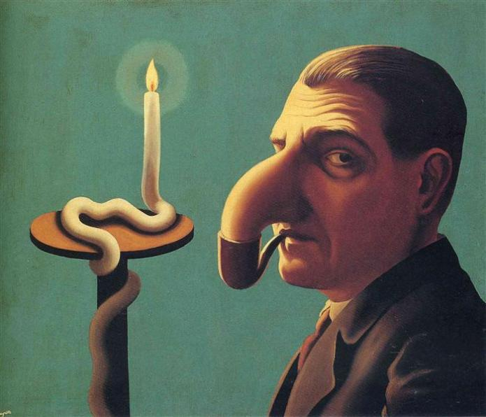 a colored image of a painting by Rene Magritte, where a man with a nose that seems like an elephant's trunk placed in the pipe as he smokes and sits by a candle light which melts in the form of a snake