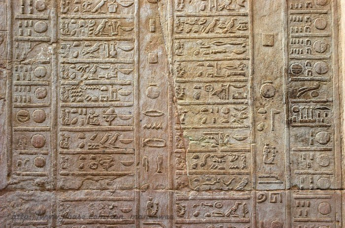 An ancient Egyptian ten day calendar carved into stone