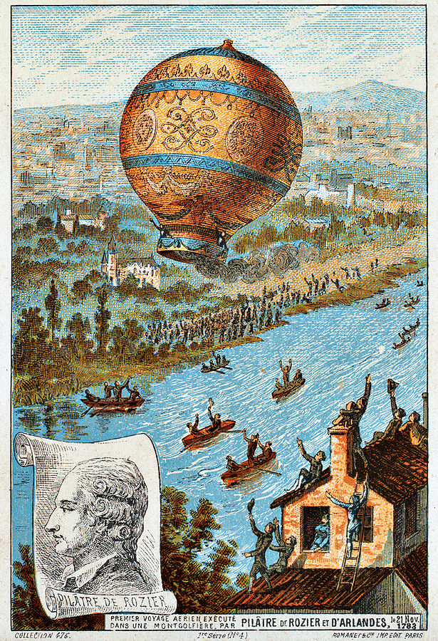 Image of Pilatre and his balloon, first flight