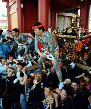 The Yakuza during a Shinto festival