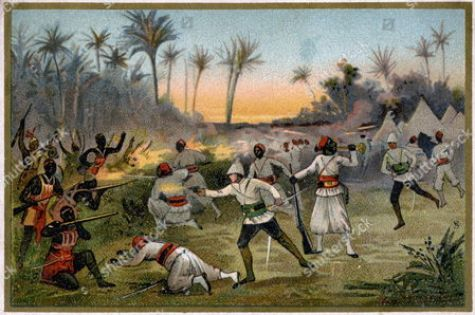 Battle during the second Franco Dahomean War 1892-4 between the French troops and the Kingdom of Dahomey, 1893, illustration, France, c. 1900