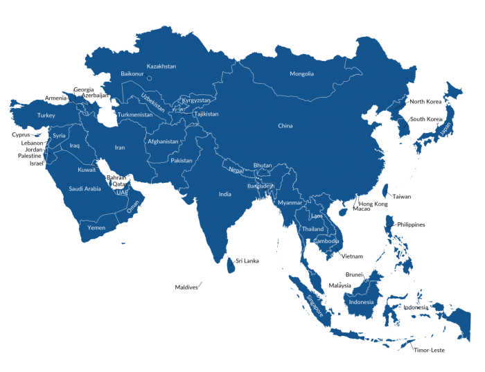 Map of Asia representing how cultures are different, even in one country