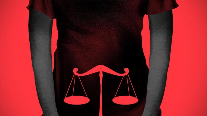 Red background with a person's silhouetted torso and scale illustration in the middle of the torso