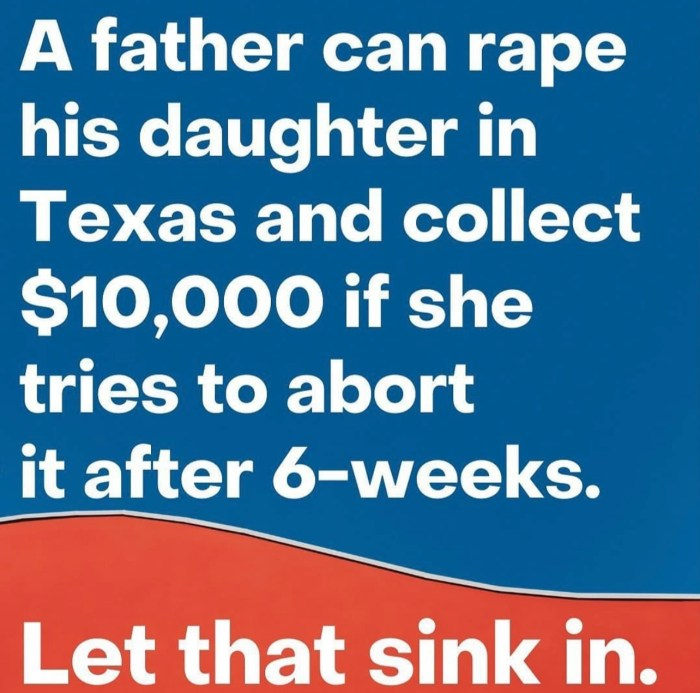 A blue and red info-picture with white text 'A father can rape his daughter in Texas and collect $10,000 if she tries to abort it after 6-weeks. Let that sink in.'