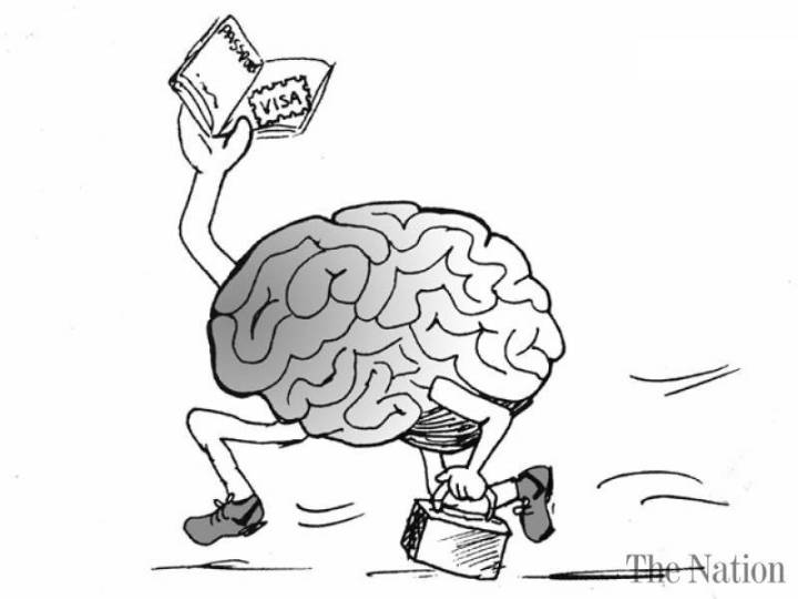 The image portrays a running brain that holds luggage in one hand and a passport with a visa in it in another.