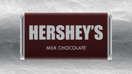 A piece of Hershey's global chocolate