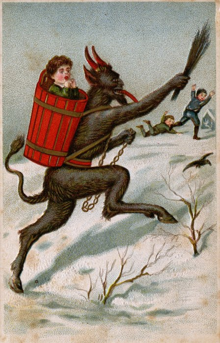 Drawing of a hairy beast carrying a child on his back in a basket.