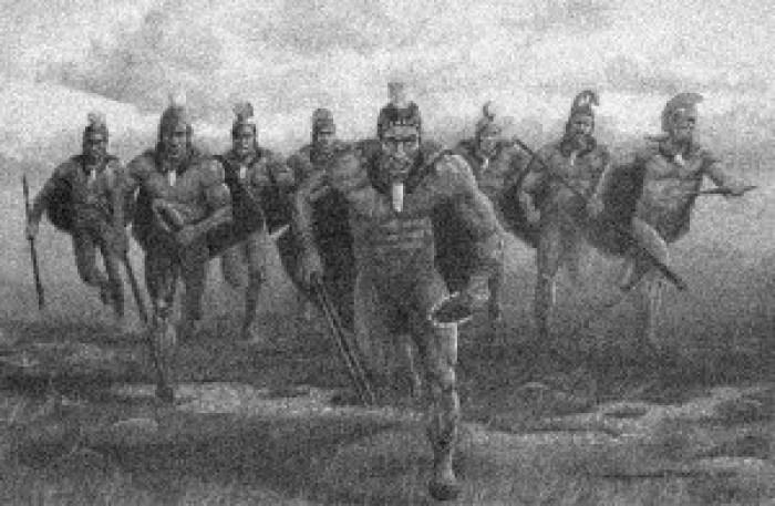 Drawing of Hawaiian warriors running.