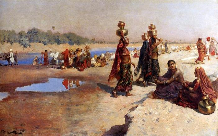 An artist's depiction of a people in Ancient India, going about their daily activities as they were meant to.
