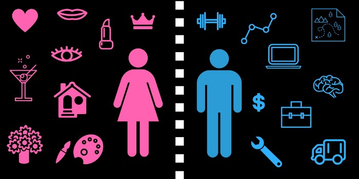 The image portrays a stereotypical gendered division of labor. Images of a woman and a man separated by a dashed line are presented in the middle of an image. A woman is surrounded by stereotypical 'female' activities and likes, such as house, arts, cocktails, flowers and makeup, while a man is surrounded by typical 'male' activities and likes, such as money, gym, computer, mental work, fixing and mechanics.